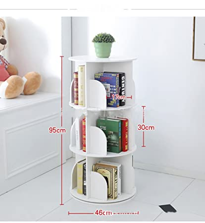 huge discount a8513 0ded2 JX&BOOS Bookshelf,Creative 360°Rotating Bookcase Simple disassembly  Bookshelves Simple Student Landing Rack -White 46x46x95cm(18x18x37)