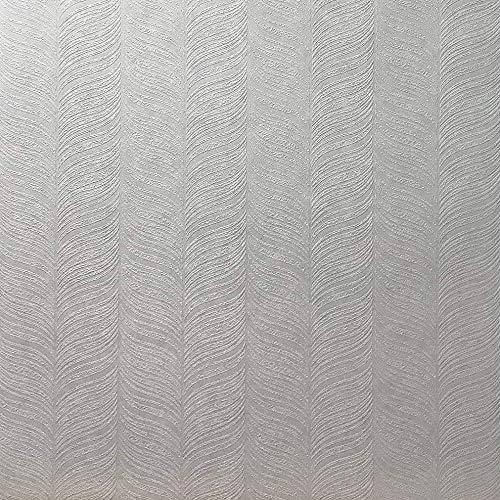 279 sq.ft. mega Rolls Paste The Wall only Slavyanski Vinyl Wallpaper anaglypta Textured Solid White paintable Modern fether Zig zag Pattern coverings Textures Patterned wallcoverings Embossed 3D