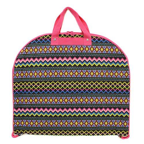 [luggage garment bag Aztec multi fuchsia trim] (Theatre Costume Closet)