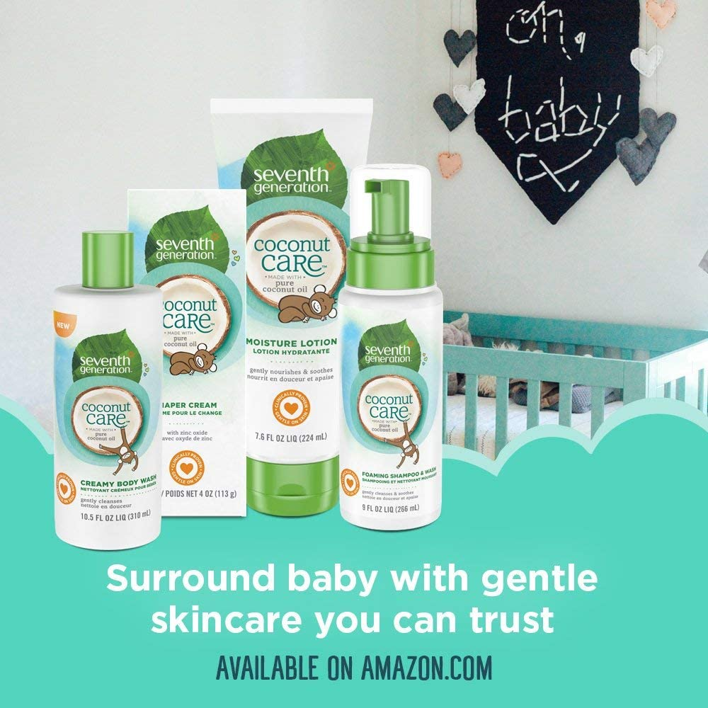 Seventh Generation Baby Care Body Wash and Body Lotion Set: 1) Creamy Body Wash and 1) Moisture Lotion   USDA Certified Biobased Product   Gluten Free   Gentle On Baby's Skin