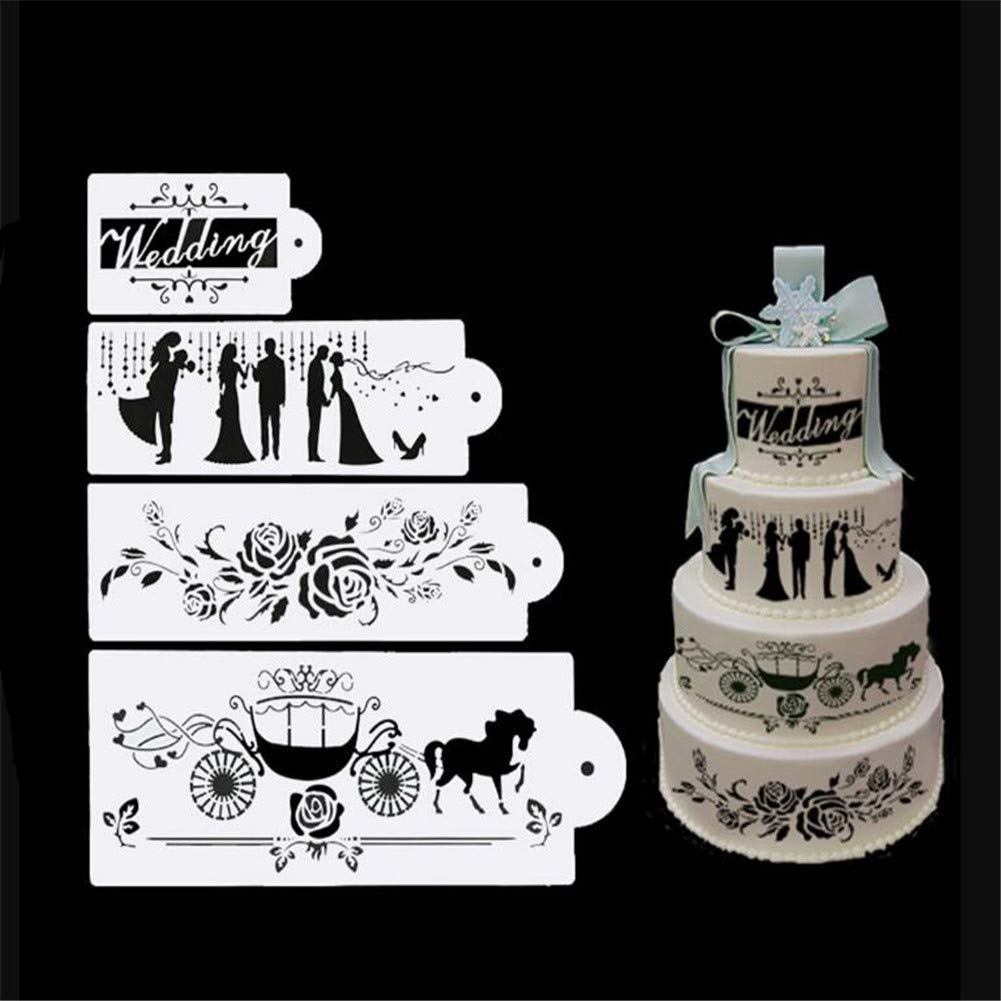 4pcs Cakes Stencil Set, Wedding Party Lace Cake Stencil Set, Cake Craft Stencils,Cake Border Stencils Set, Decorating Cake Stencil, Fondant Decotration, Sugarcraft Template Mold Cake Decorating Tools VALINK