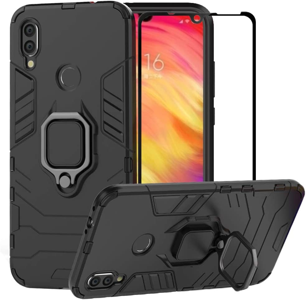 Amazon Com Bestalice For Xiaomi Redmi Note 7 Redmi Note 7 Pro Case Hybrid Heavy Duty Protection Shockproof Defender Kickstand Armor Case Cover Tempered Glass Screen Protector Black