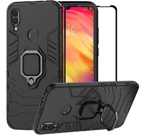 Hybrid Heavy Duty Protection Shockproof Defender Kickstand Armor Case Cover Tempered Glass Screen Protector,Black BestAlice for Xiaomi Redmi Note 7 Redmi Note 7 Pro Case