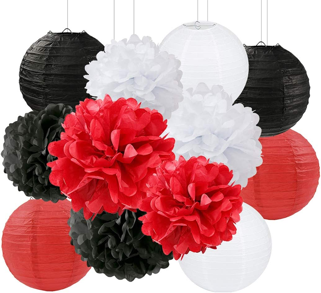 Amazon Com Ladybug Birthday Party Decoration Graduation Party Decorations Black White Red Tissue Paper Pom Pom Paper Flower Decoration Paper Lantern Hanging Paper Decoration For Baby Shower Nursery Decor Health Personal Care