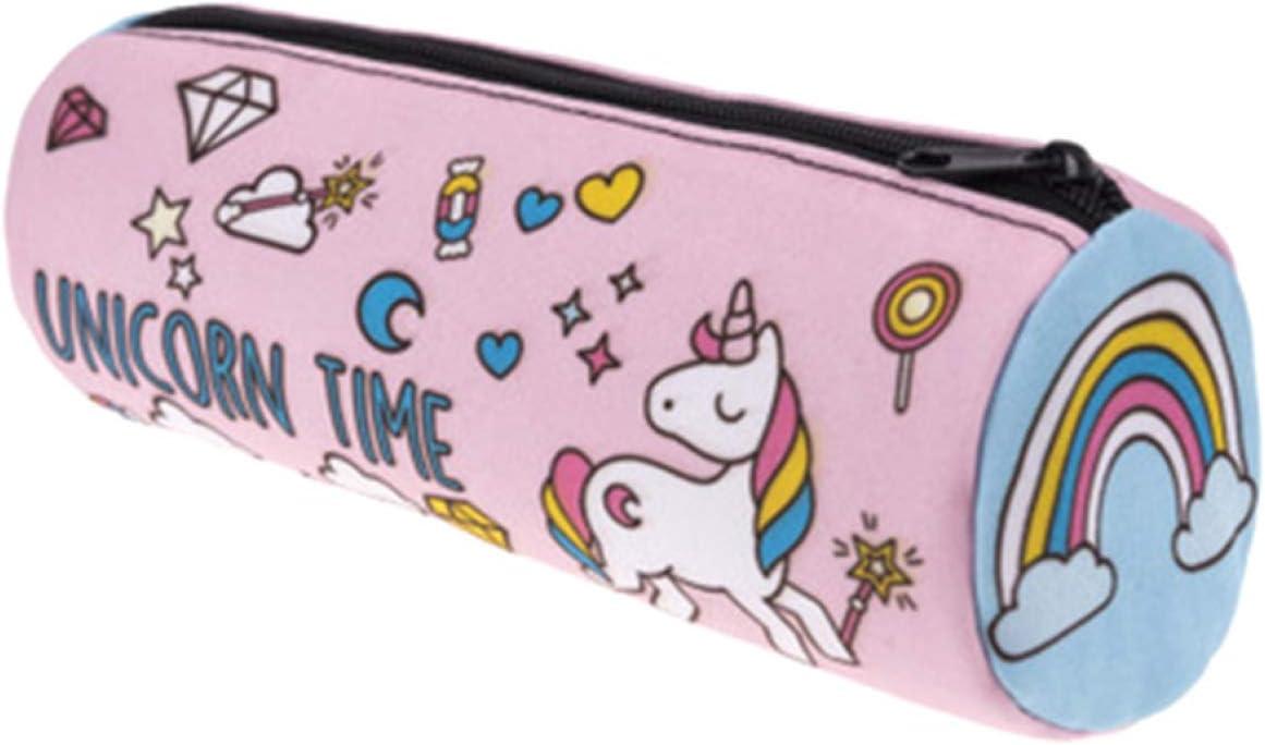 Tirdds Increíble estuche cilíndrico para lápices con impresión de unicornio 3D y bolsa de almacenamiento para suministros escolares de papelería: Amazon.es: Hogar