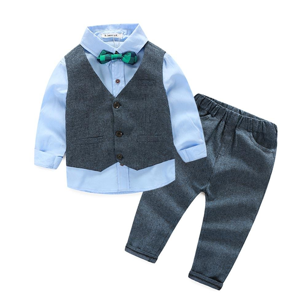 Boys 3Pcs Clothing Sets Cotton Long Sleeve Bowtie Shirts +Vest +Pants Casual Suit(4T)