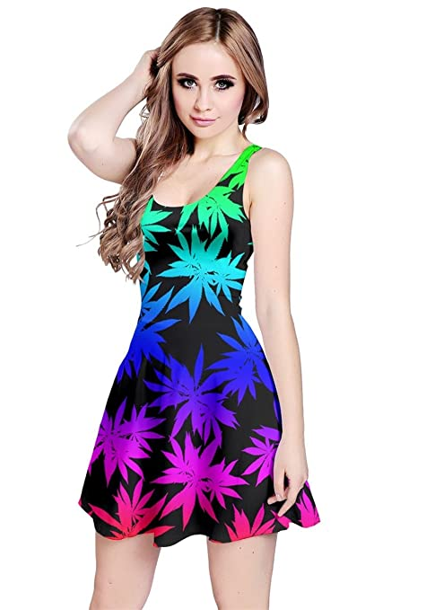 CowCow Womens Marijuana Cannabis Plant Marihuana Leaves Sleeveless Dress, XS-5XL
