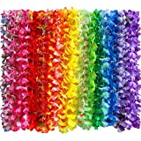 Myamy 36 Counts Hawaiian Leis Necklace Tropical Luau Hawaii Silk Flower Lei Theme Party Favors Wreaths Headbands Holiday Wedding Beach Birthday Decorations (3 Dozens)