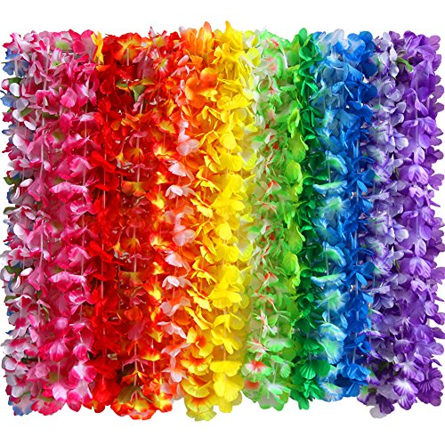 Myamy 36 Counts Hawaiian Leis Necklace Tropical Luau Hawaii Silk Flower Lei Theme Party Favors Wreaths Headbands Holiday Wedding Beach Birthday Decorations (3 -