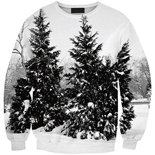 Sweatshirts Girls 3 Thin T Women Tops YICHUN Shirt Tree Leisure Blouse Print 5gq0Wxnx