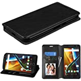 Motorola Moto G4 Case, G4 Plus Case, JoJoGoldStar Bicast PU Leather Folio Wallet with Card Slots and Kickstand, Comes with Stylus Pen and Screen Protector - Black