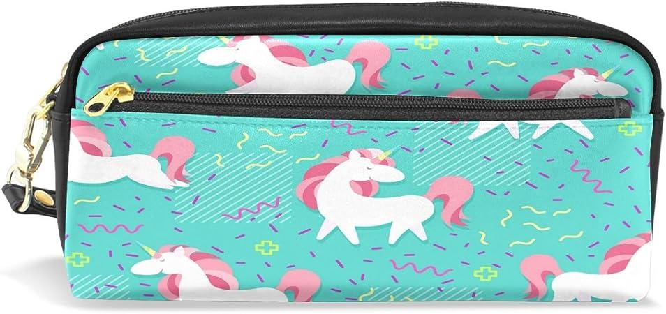 Estuche, diseño unicornio Imprimir lápiz bolsa bolsa de viaje para maquillaje tipo cartera gran capacidad Pu impermeable con cremallera compartimento: Amazon.es: Oficina y papelería