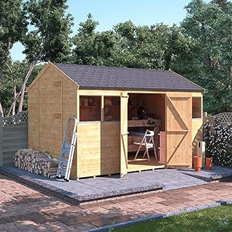 Cobertizo/taller Reverse Apex de madera tipo machimbre de 3, 6 m x 2, 4 m.: Amazon.es: Jardín