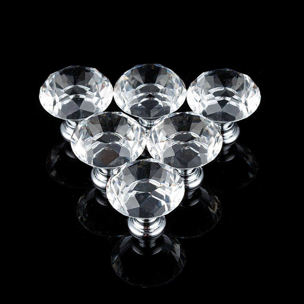 Möbelknopf Diamant Kristall Möbelknöpfe Moebelgriffe Möbelknauf Schubladengriff Türknauf Türgriffe Schrankgriff Transparent (1 Stück) hootecheu