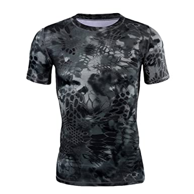 Men/'s Gym Short Sleeve Clothing Fitness Athletic Quick Drying Elastic T-shirt