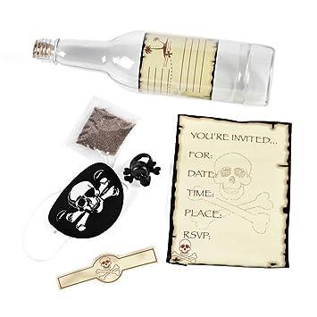 6 X Einladungskarte Einladung Flaschenpost Piratenparty Kindergeburtstag  Geburtstag Piraten Party