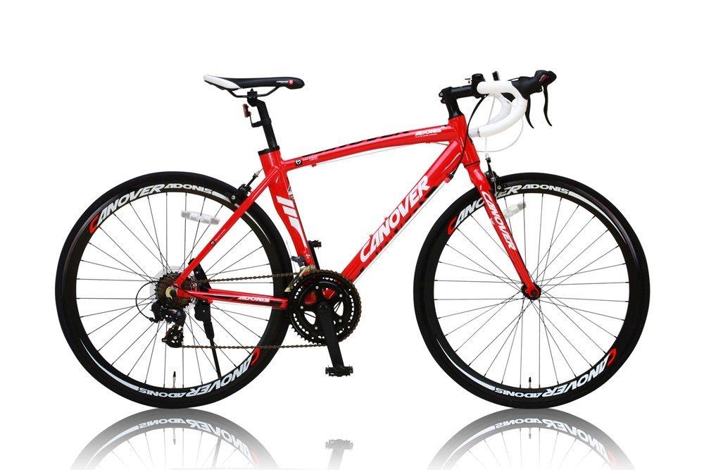 CANOVER(カノーバー) ロードバイク 自転車 700c SHIMANO(シマノ) ロードバイク アルミフレーム 男女兼用(重量11.7kg 身長165cm以上 サイズ460mm) 14段変速 【シリコンライトチェーンリック(鍵)リアライト3点セット】 CAR-012 ADONIS 直販カギセット レッド B012UXH8O0