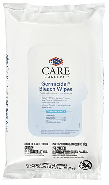 Clorox® CareConcepts Germicidal Bleach Wipes, 40 Count