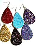 10pairs pack, Women's 10colors rough Faux Leather Teardrop Dangle Pierced Earrings