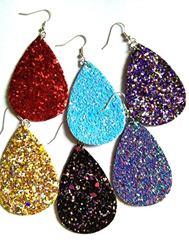 10pairs pack, Women's 10colors rough Faux Leather Teardrop Dangle Pierced Earrings (multicolor)