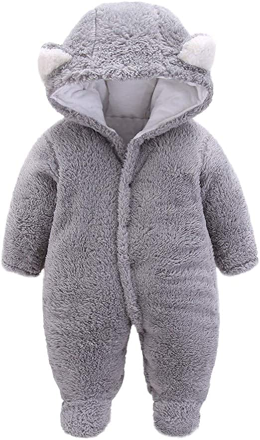 Color : Brown, Size : 0-3M Shopping cart Jumpsuit Outfits Winter Newborn Warmer Snowsuit Cotton Fleece Hooded Romper Jumpsuit For Baby Girls Boys