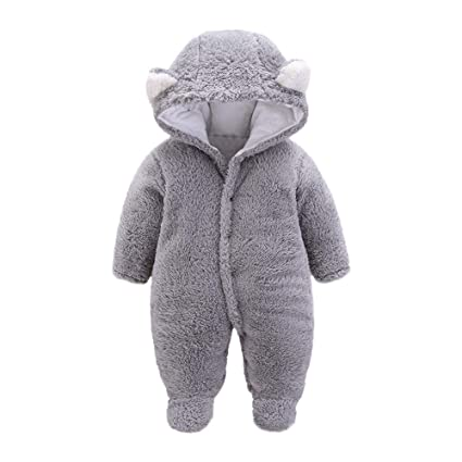 88bd4ec3dfd Franterd Baby Boys Girls Romper Kids Lovely Animal Ear Thick Fluffy Warm  Hooded Onesie Jumpsuits Snowsuit