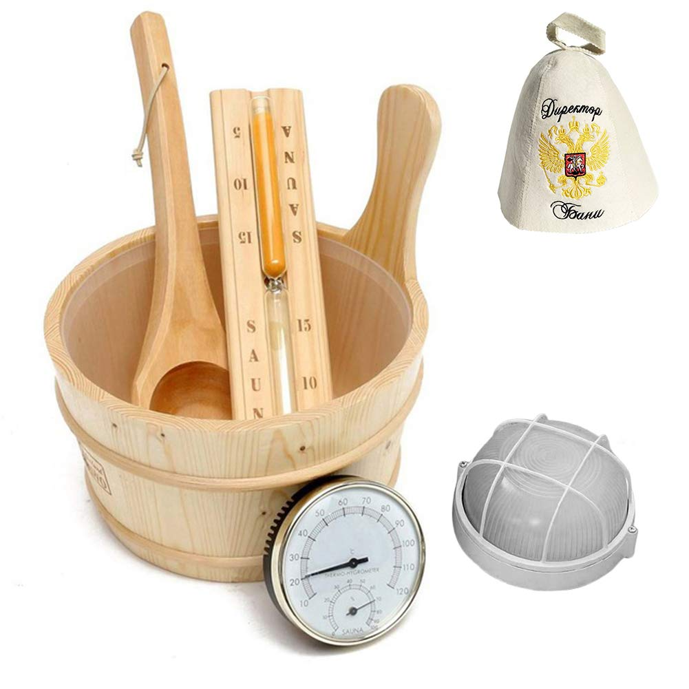PROKTH 6 Pack Sauna Set,Sauna Bucket with Ladle and Wool Sauna Cap,Hourglass,Hygrometer,Lamp,Handmade Wooden Sauna Bucket for Sauna Bathroom Natural Bath Accessories Hot Tubs by PROKTH