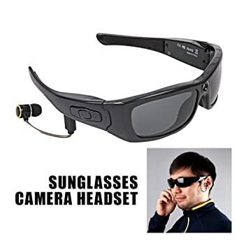 Camara Espia Mini Camara Gafas De Sol con Cámara Auricular ...