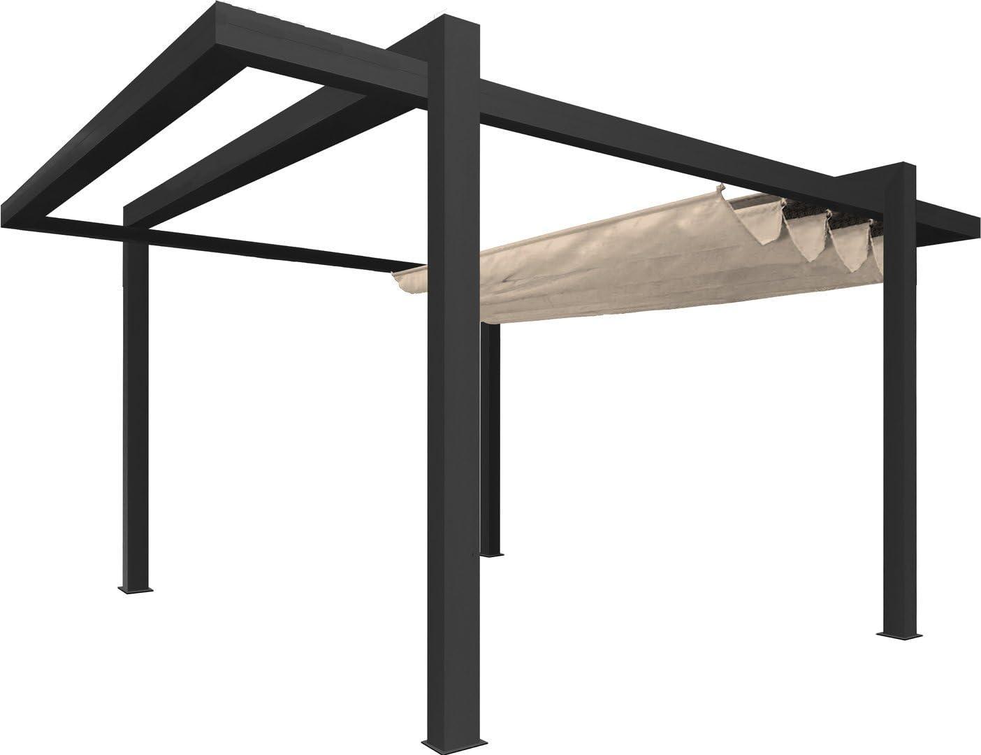 Pérgola independiente de lona y aluminio Grandlux – 5 x 3 m – Gris ...
