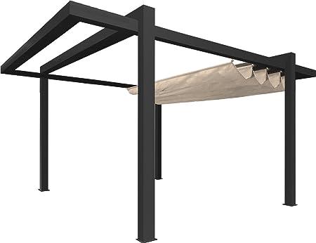 Pérgola independiente de lona y aluminio Grandlux – 5 x 3 m – Gris con lona beis: Amazon.es: Jardín