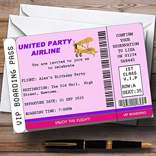 Pink Vip Plane Boarding Pass Ticket Theme Personalized Birthday Party Invitat...