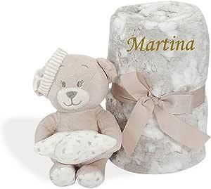 Detalles de Nacimiento Personalizados Gris Mababyshop- Set Manta y Peluche Personalizado Osito para regalo de reci/én nacido