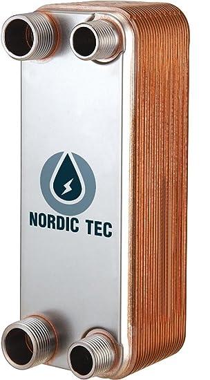 """125kW 1/"""" Edelstahl W/ärmetauscher Plattenw/ärmetauscher NORDIC TEC Ba-32-20 20 platten"""