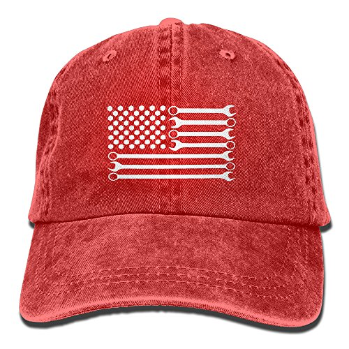 Mechanic DIY Wrench American Flag Unisex Adjustable Cotton Denim Hat Washed Retro Gym Hat FS&DMhcap Cap (Baseball Costume For Women Diy)