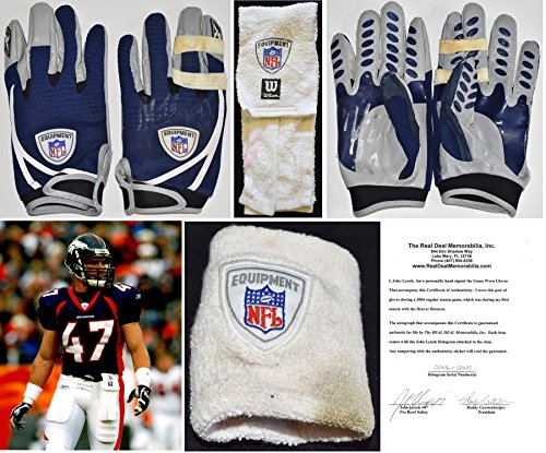 - John Lynch DUAL Signed - Autographed Denver Broncos Game Used Gloves, Wristband, and Towel from 10-3-04 vs Tampa Bay Bucs - PHOTO Matched