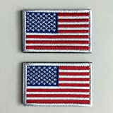 SpaceAuto Bundle 2 Pieces Tactical USA Flag Velcro Morale Patches Red w/ ...