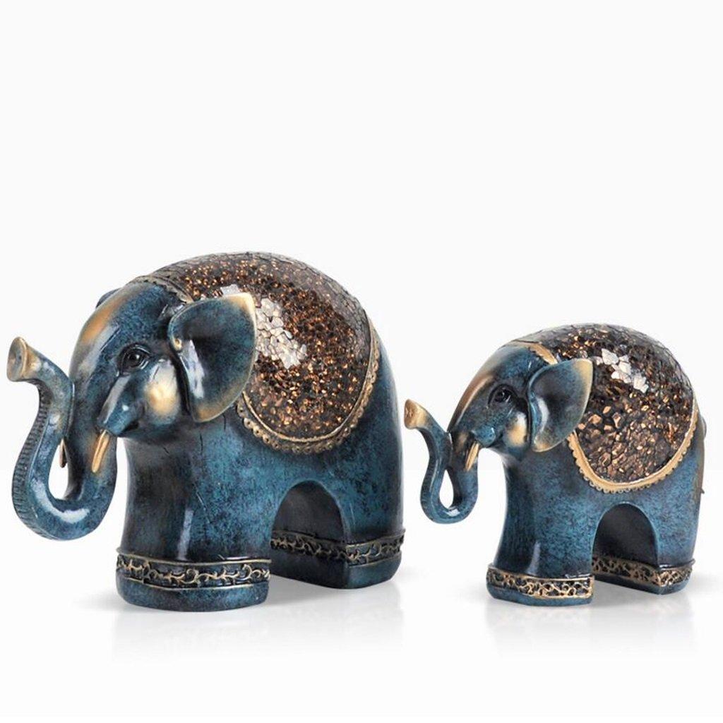 FJH レトロレジン彫刻エレファントデコレーションアートワークウェディングギフトリビングルームワインキャビネットルームベッドルームデコレーション家具 (色 : 青) B07S4H6B6J 青