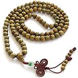 Green Sandalwood Beads Tibetan Buddhist Prayer Meditation Mala Necklace