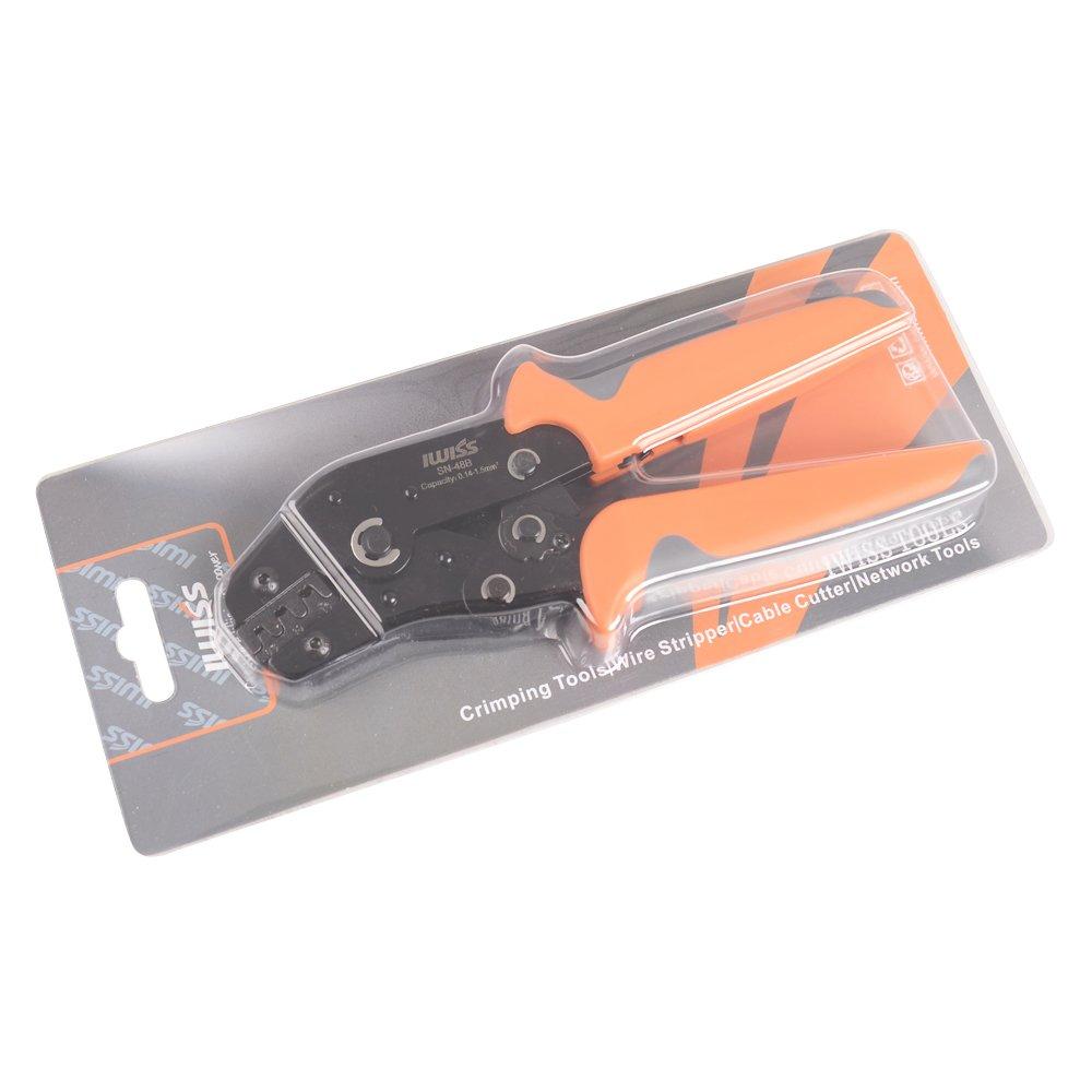IWISS SN-48B Pin Crimping Tools 3.96//4.8//5.08//6.3 mm 26-16AWG Crimper 0.14-1.5mm/² Para conectores y terminales Molex Dupont y JST-SM