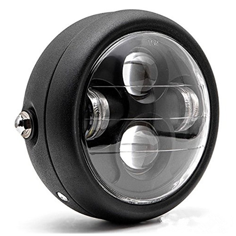 DLLL LED Universal Metal Black 6.5 Headlight Projector HeadLamp Hi//Lo Beam for Honda,Yamaha,Suzuki,Custom Bike,Cruiser,Choppers Kawasaki Vulcan Classic Custom 900