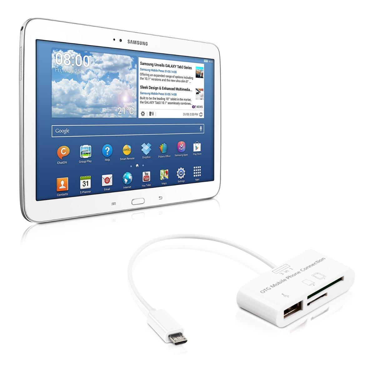 kwmobile 3in1 Micro adattatore della carta Reader USB OTG per Samsung Galaxy Tab 4 10.1 T530 / T531 / T535 bianco KW-Commerce 29309