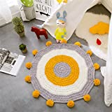 Fox Playmat Handmade Crochet Blanket Kids Area Rugs Round carpets Children Floor Animals Cotton Hand knitted playroom bedding Modern nursery Knit gray pink yellow blue mint bear (Yellow/Gray/White)