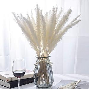 Bemecato Pampas Grass Decor - White Pompous Grass, Small Pompass Grass Branches, Dried Flowers for Vase, Boho Home Decor, 32Pcs, 17.7