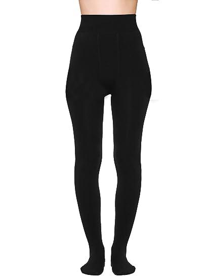 0edeef8cb63 ShopOlica Women s Feather Woollen Elastic Waist Band Fur Inside Full Foot  Fleece Leggings Pants (Black
