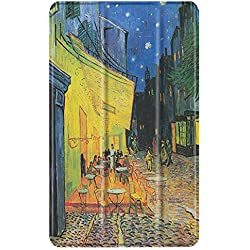 TNP Slim Case for All-New Amazon Fire 7 Tablet (7th Generation, 2017 Release), Ultra Lightweight Slim Shell Standing Cover with Auto Wake / Sleep (Cafe at Night - Van Gogh)