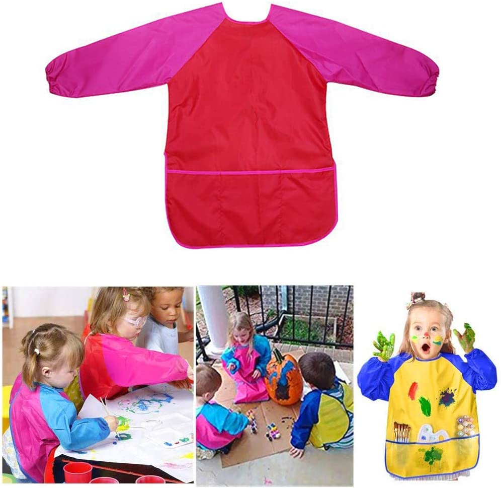 Flushzing Children Long Sleeve Waterproof Apron with Pocket Polyester Fiber Kid Art Craft Painting Cook Feeding Smock Red L