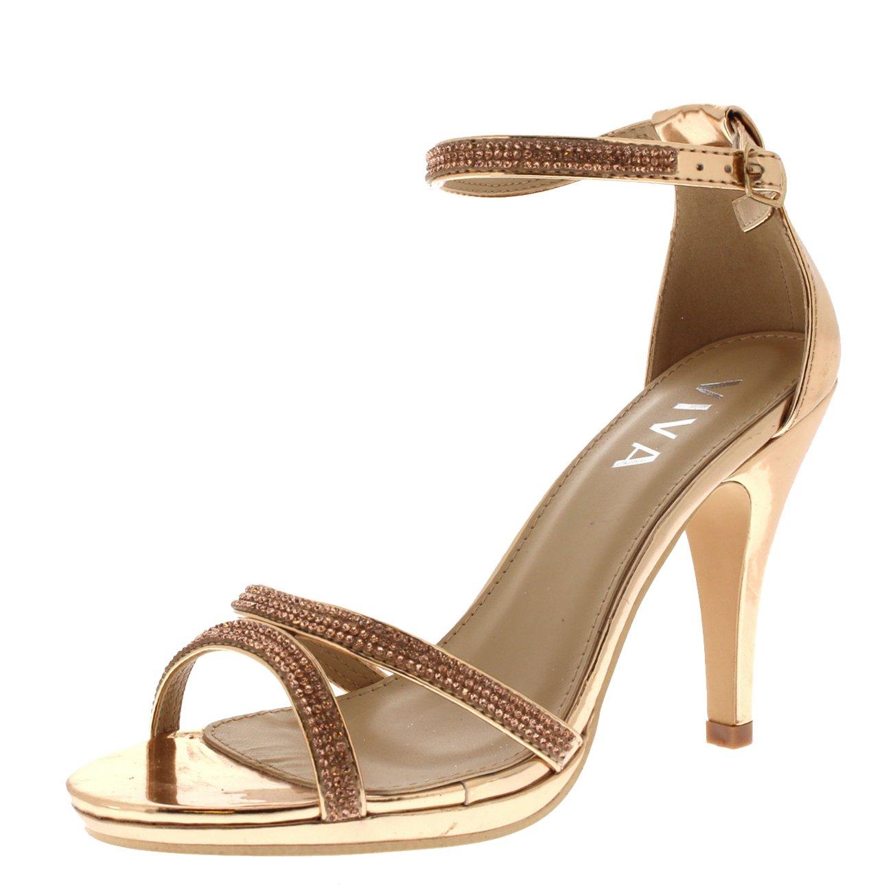 Viva Mujer Diamante Medio Tal/ón Correa de Tobillo Boda Fiesta Met/álico Sandalias Zapatos