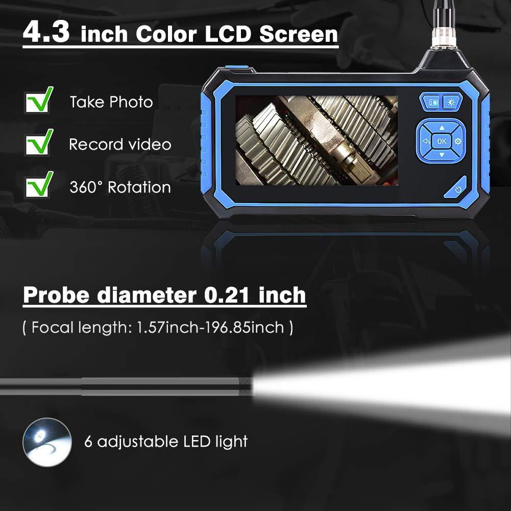 C/ámara de Inspecci/ón con Pantalla LCD a Color de 4.3 Pulgadas Sonda 5.5mm Semirr/ígido 1080P con 6 LED C/ámara Snake Impermeable con Bater/ía de Litio de 2600mAh Volador Endoscopio Industrial 5M