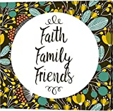 Faith Family Friends Retro Floral Black by Color Me Happy Canvas Art Wall Picture, Gallery Wrap, 37 x 37 inches