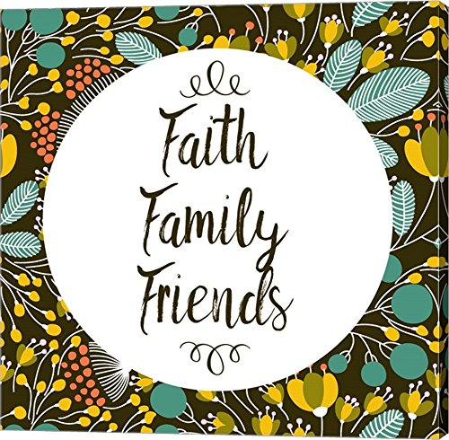Faith Family Friends Retro Floral Black by Color Me Happy Canvas Art Wall Picture, Gallery Wrap, 37 x 37 inches by Great Art Now